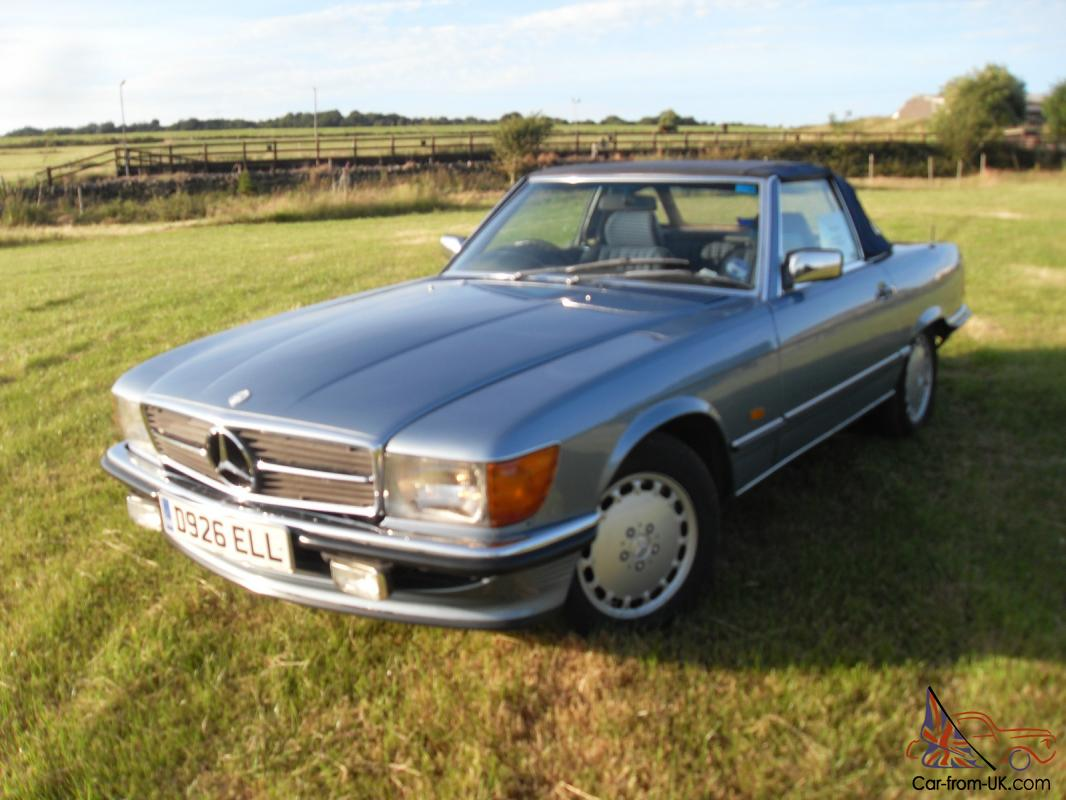 1987 mercedes 300 sl r107 auto met blue hard top rear seats fsh restored. Black Bedroom Furniture Sets. Home Design Ideas