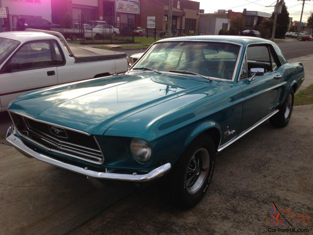 1968 ford mustang coupe blue v8 302 c4 automatic. Black Bedroom Furniture Sets. Home Design Ideas
