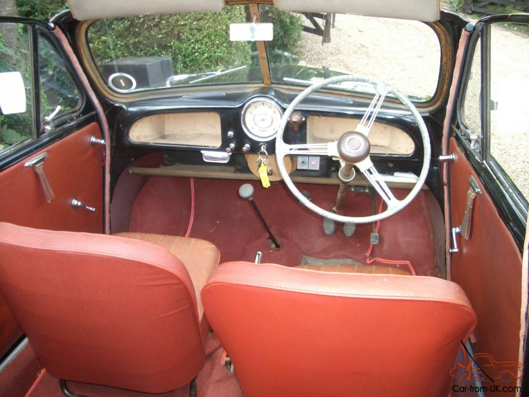 1955 morris minor split screen convertible in black with red interior. Black Bedroom Furniture Sets. Home Design Ideas