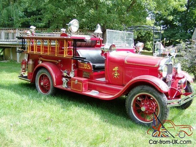 1928 ford model aa seagrave fire truck new engine restored for Ford truck motors for sale