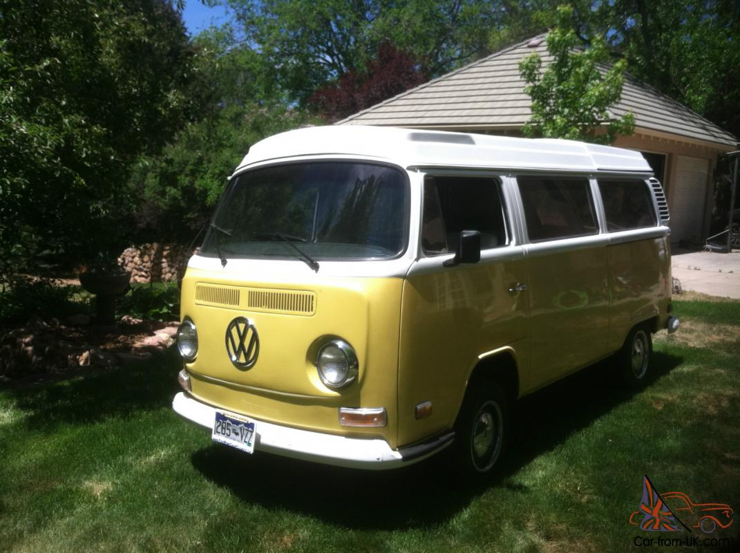 restored vw bus westfalia camper yellow