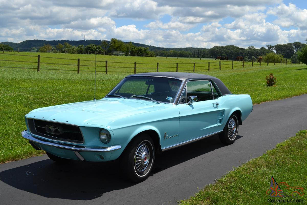 1967 Mustang Frost Turquoise With Black Vinyl Top Black