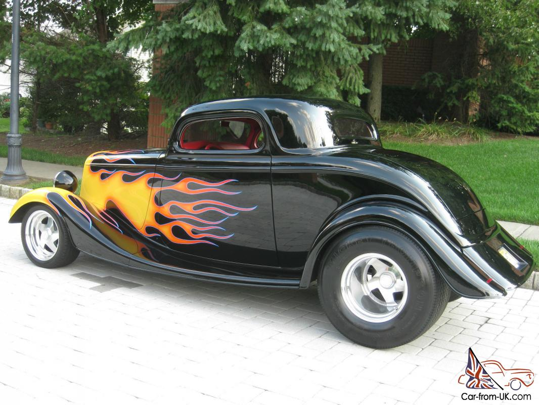 1933 ford 3 window coupe street rod black with flames