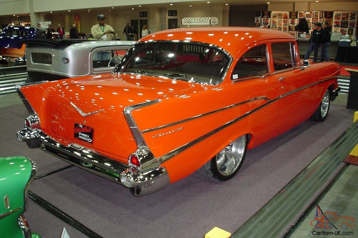 1957 chevy 210 rotisserie restored 350 5 speed stick pearl orange like new. Black Bedroom Furniture Sets. Home Design Ideas