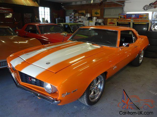 1969 Camaro Coupe Hugger Orange Chevy Chevrolet Muscle Car Classic Cruiser