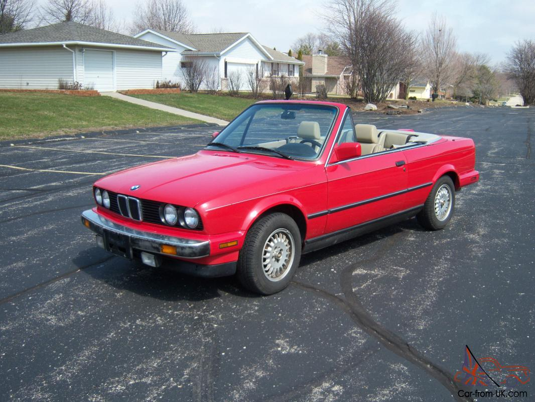 1987 bmw 325i convertible red cabrio e30 automatic unmolested stock well kept. Black Bedroom Furniture Sets. Home Design Ideas
