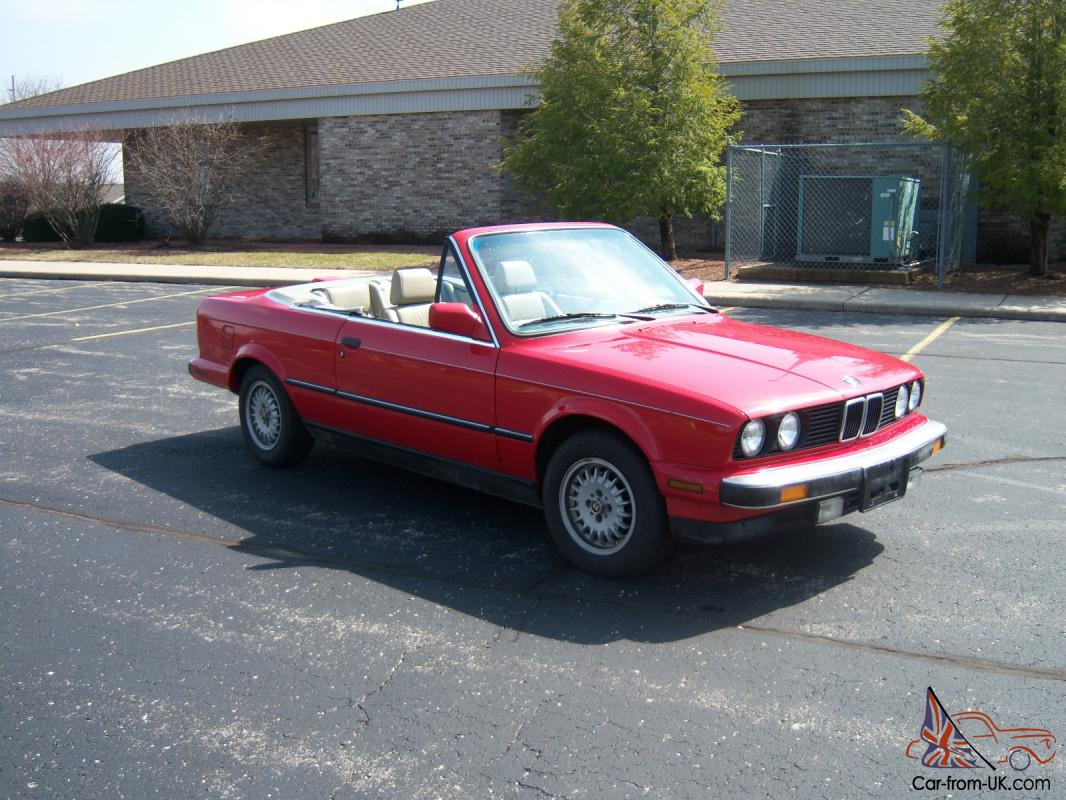1987 bmw 325i convertible red cabrio e30 automatic. Black Bedroom Furniture Sets. Home Design Ideas