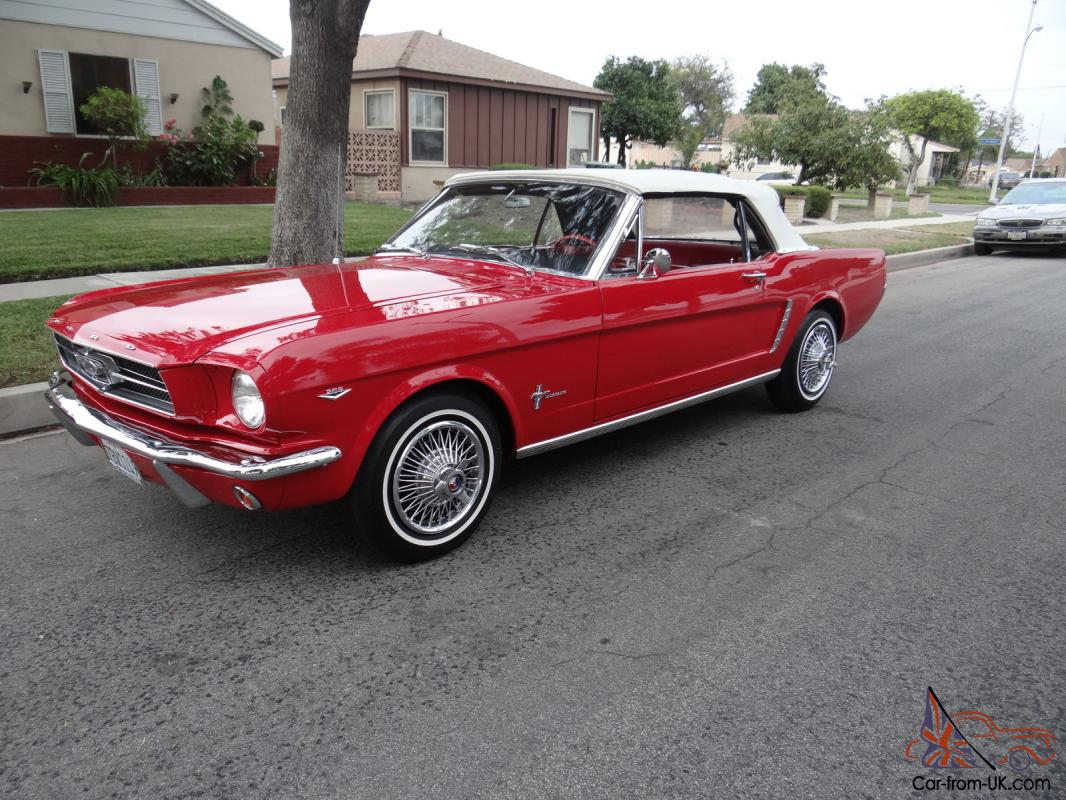 1965 ford mustang convertible 64 1 2 red on red beautifull 4 spd v8 289 original. Black Bedroom Furniture Sets. Home Design Ideas