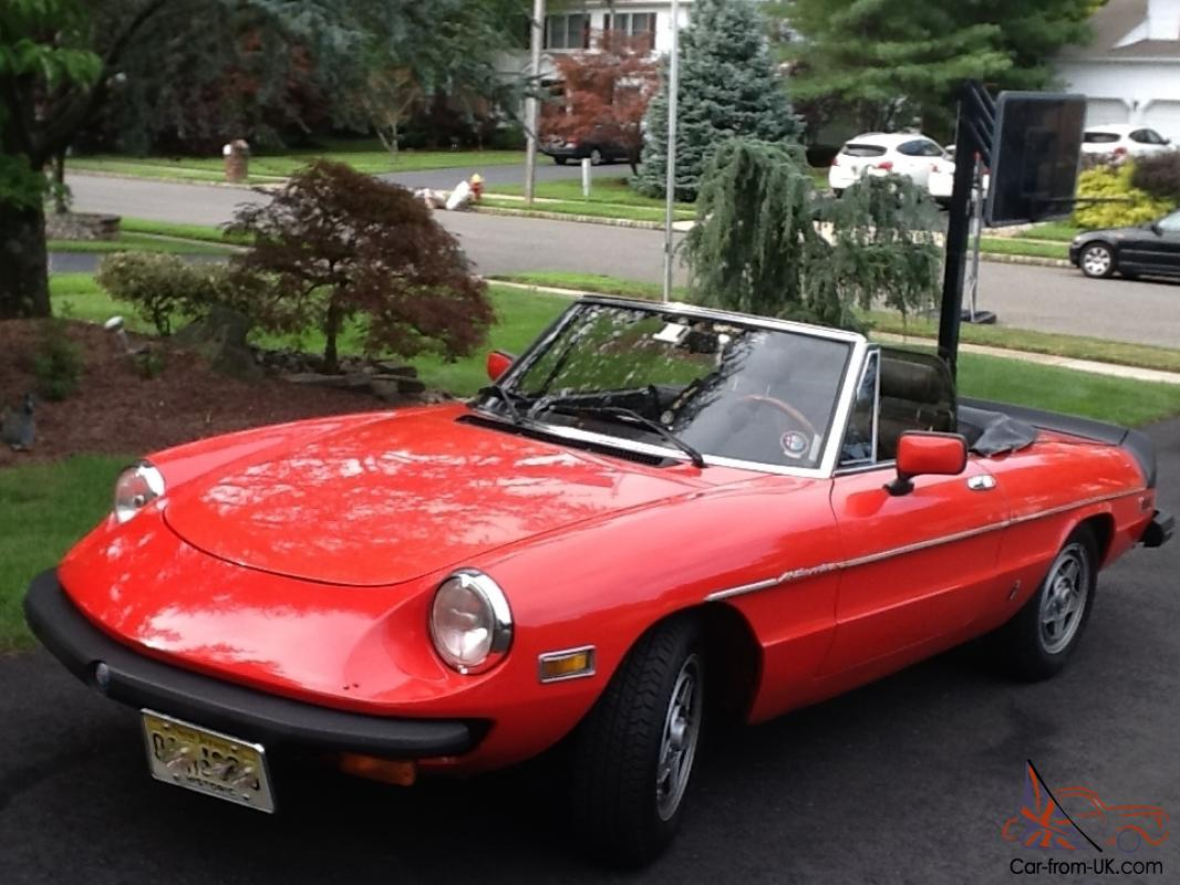 1982 alfa romeo spider veloce red convertible 50k miles. Black Bedroom Furniture Sets. Home Design Ideas