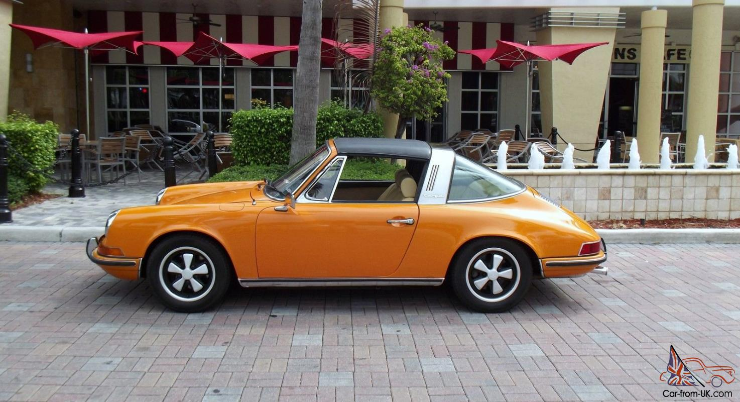 1971 porsche 911 t targa perfect condition coa signal orange beige. Black Bedroom Furniture Sets. Home Design Ideas