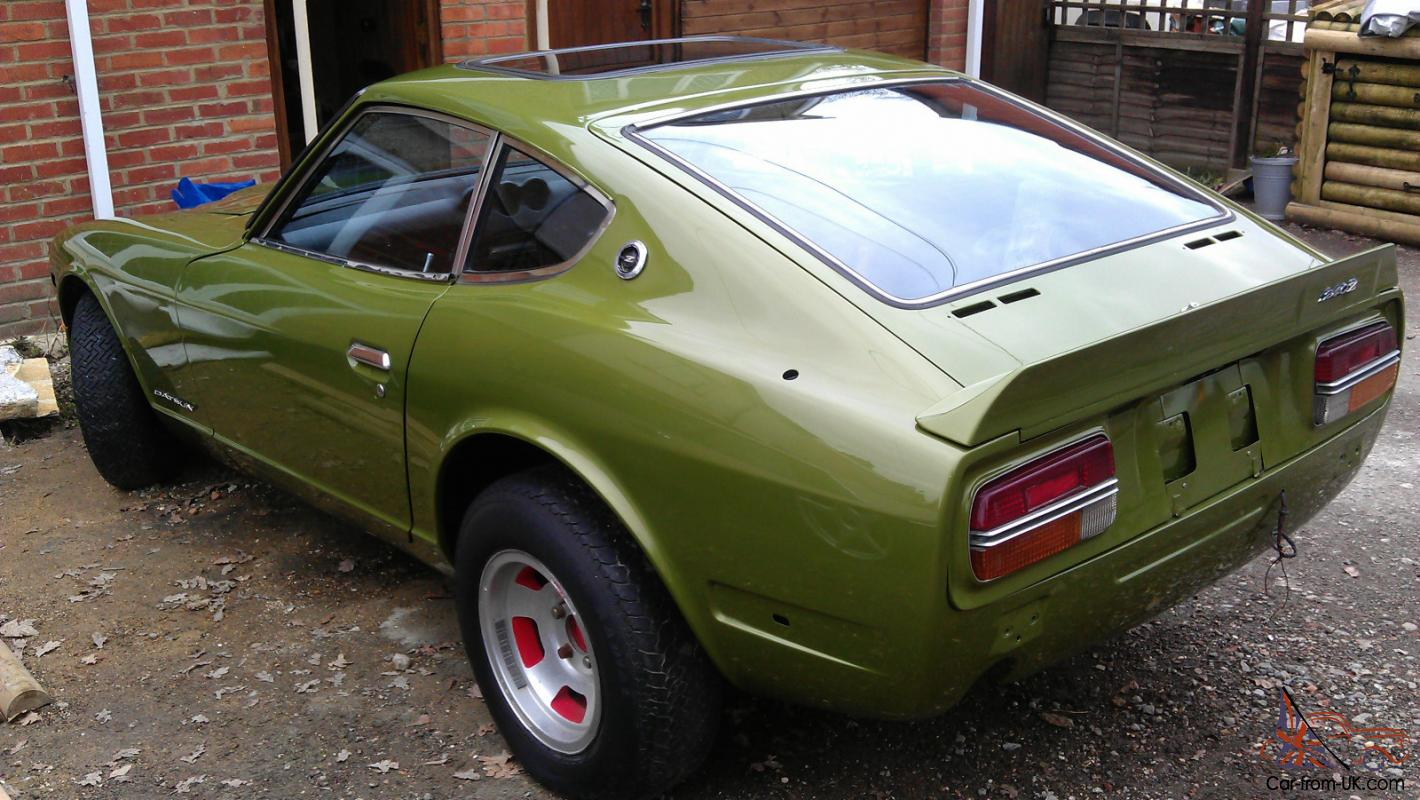 datsun 240z classic sports car 2 door 1973 l avocado green. Black Bedroom Furniture Sets. Home Design Ideas
