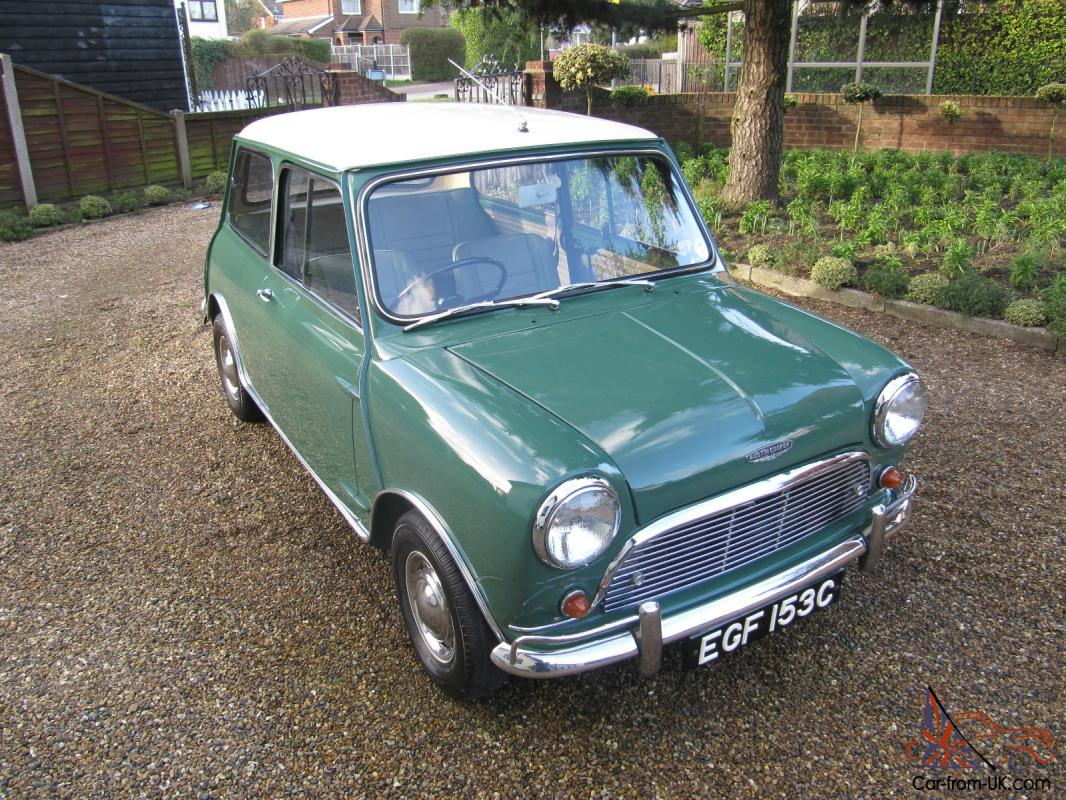 1965 austin mini cooper green white. Black Bedroom Furniture Sets. Home Design Ideas