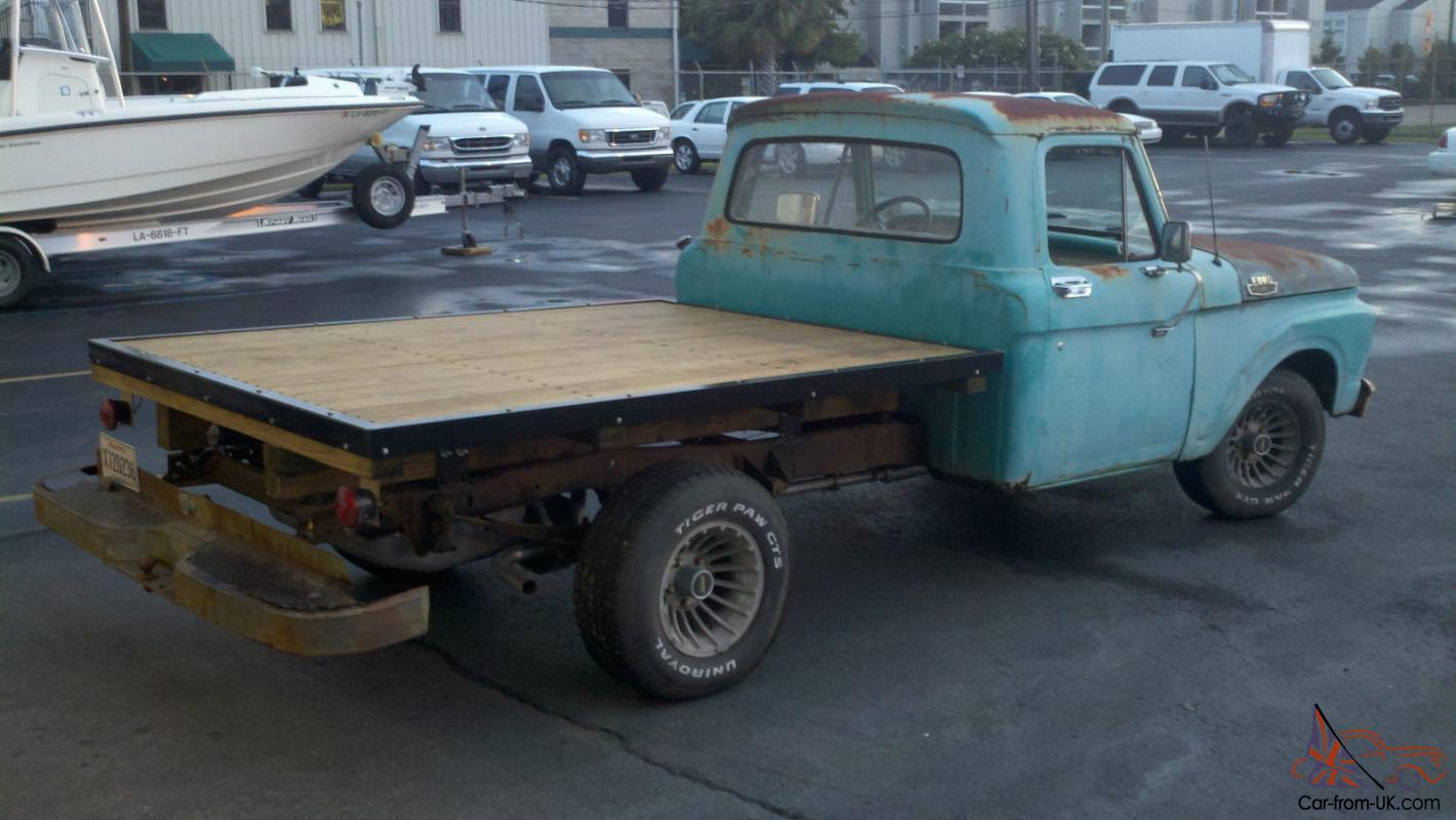 Classic Truck Driver W Original Caribbean Turquoise Paint Wood Flatbed