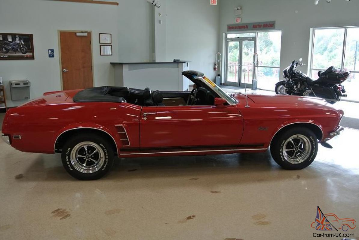 1969 Ford Mustang Convertible 351 4v Red Black Top 97k