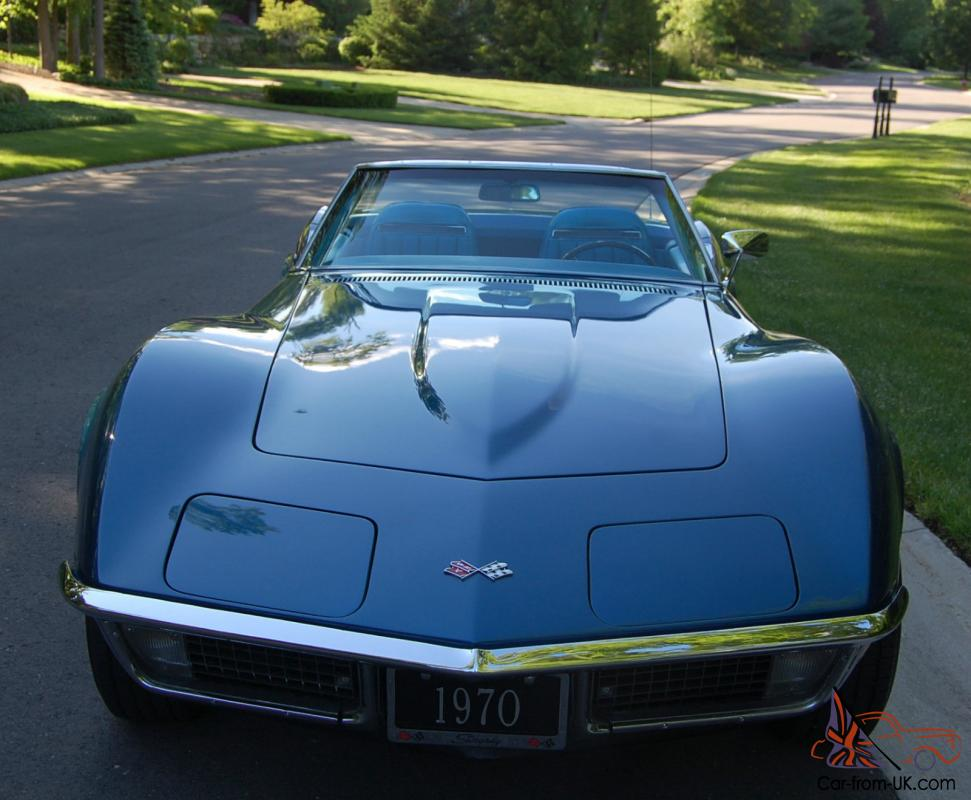 restored 1970 corvette stingray convertible matching 350 300hp automatic c3. Black Bedroom Furniture Sets. Home Design Ideas