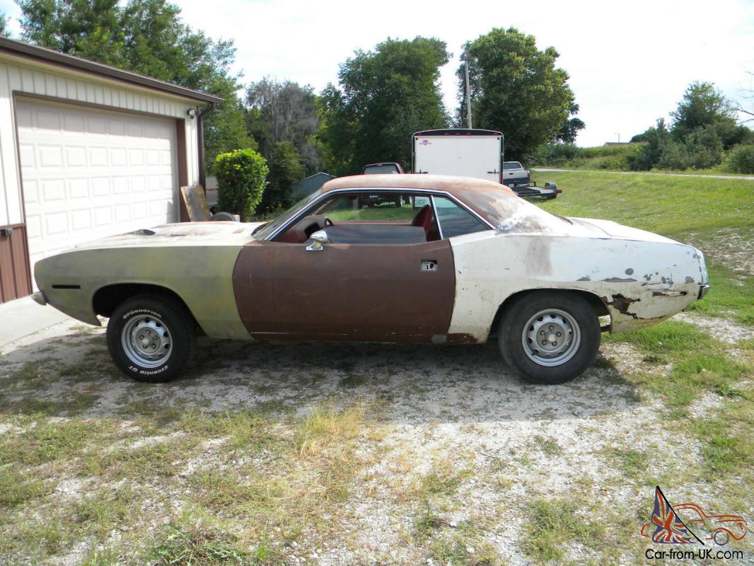 70 Plymouth Cuda 340, BS23H, #s Matching Project Car, White/Red, A/C ...