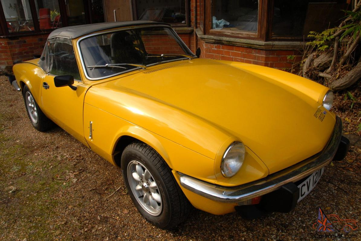 1981 w triumph spitfire 1500 convertible 4 speed manual inca yellow. Black Bedroom Furniture Sets. Home Design Ideas