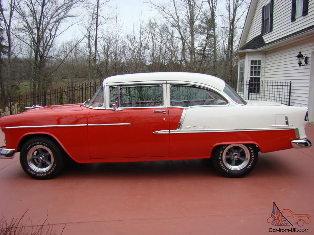 1955 Chevy Post Bel Air For Salered White Exterior Paint With Red Interiorall Glass Is New And Stainless Polishedall Guages Ights Safety