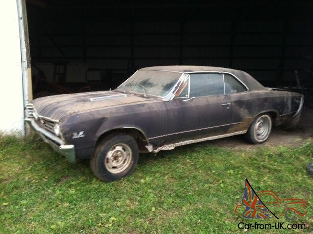 1967 67 CHEVELLE SS396 350 HP 4SP ALL ORIGINAL BARN FIND PROJECT CAR