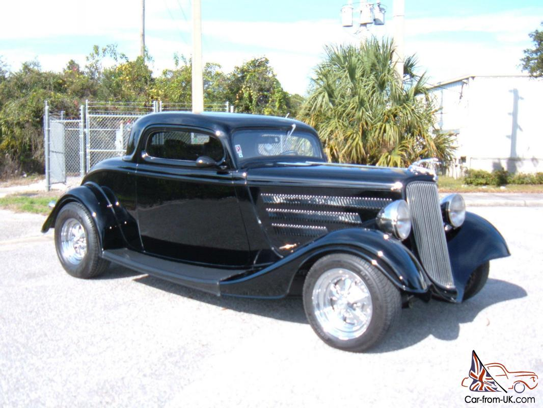 1934 ford 3 window coupe black black leather 350 chevy for 1934 three window coupe
