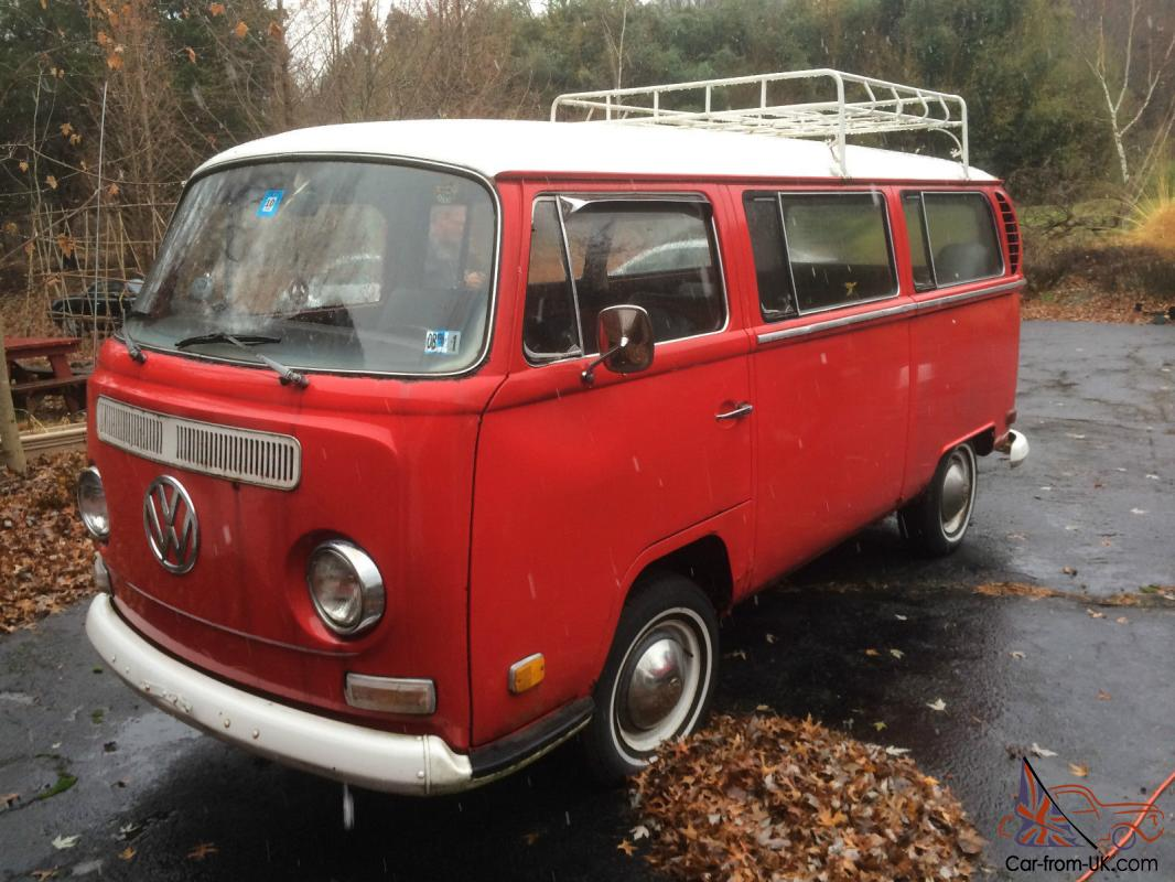 1970 Volkswagen Bus With Cargo Luggage Rack 2nd Row Seat Red