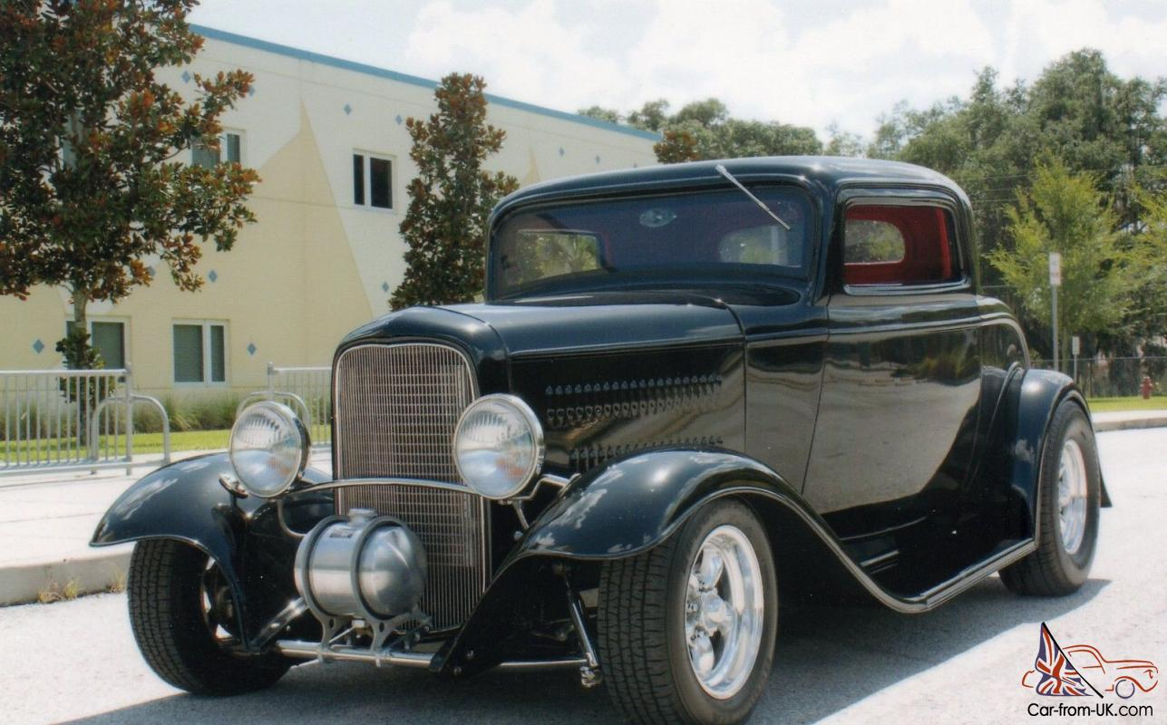 1932 ford 3 window coupe black red interior full for 1932 3 window ford coupe