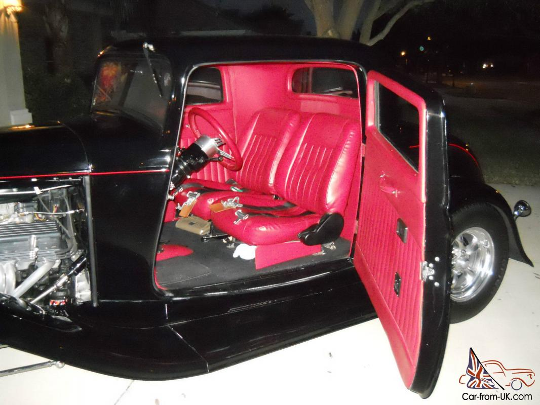 1932 Ford 3 Window Coupe Black Red Interior Full Fendered 350 350 8 Inch Ac