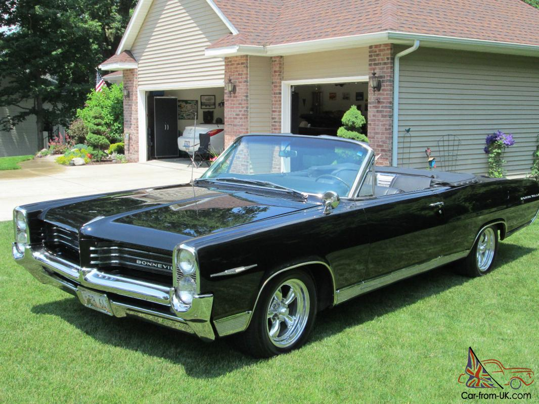 1964 pontiac bonneville triple black convertible with for American classic wheels for sale