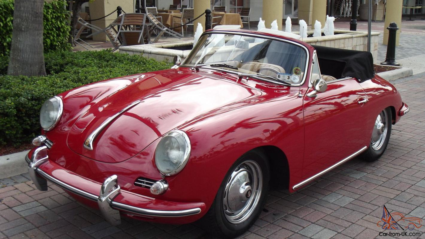 1963 Porsche 356 B Cabriolet Restored Red With Tan