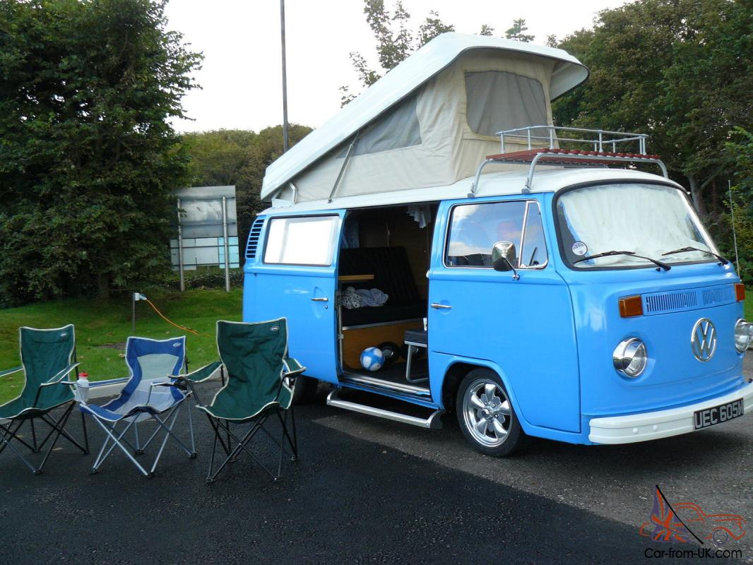 vw t2 campervan 1973 bay window pop top pappa smurf. Black Bedroom Furniture Sets. Home Design Ideas
