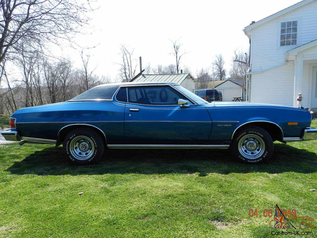 1975 ford gran torino 2 door hard top blue inside and out