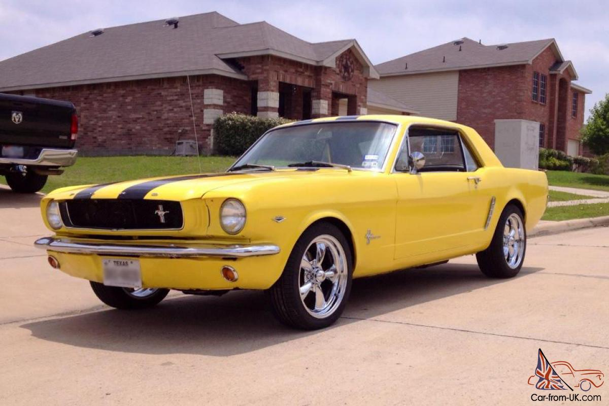 1965 mustang coupe 347 coupe yellow black stripes