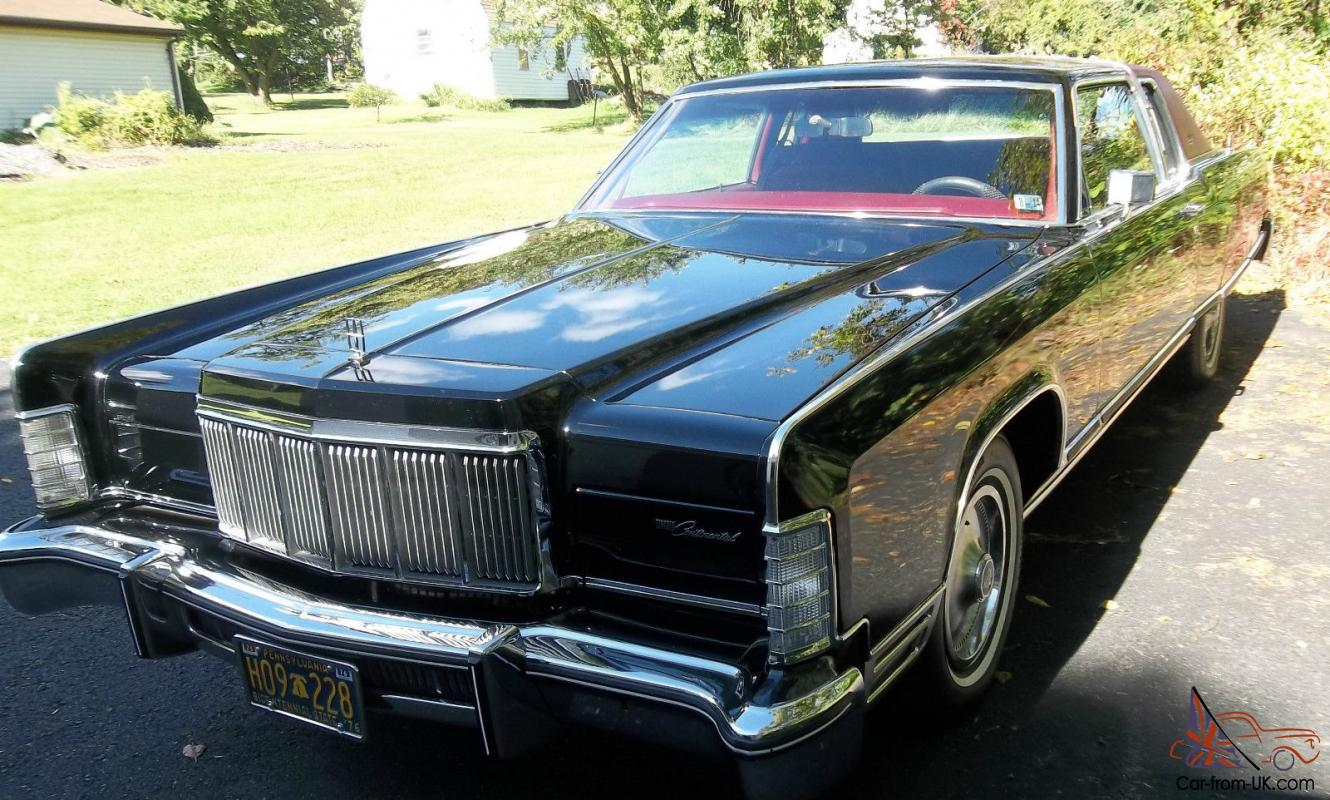 1976 Lincoln Continental Town Coupe Car 2 Door Black Ext Red Int