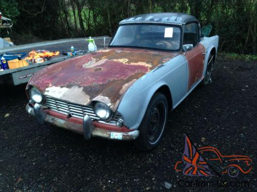 1963 Triumph Tr4 Restoration Project Hard Top Complete Car Engine