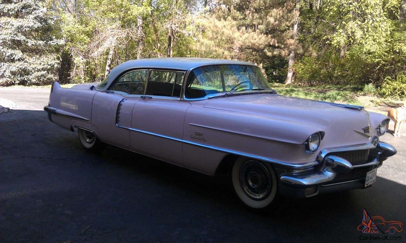 1956 cadillac deville 4 door v 8 pink with white top black for 1956 cadillac 4 door sedan