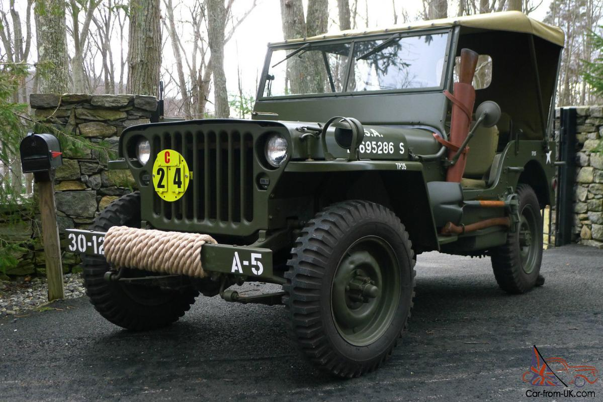 1945 willys mb wwii military jeep army antique classic fully restored. Black Bedroom Furniture Sets. Home Design Ideas