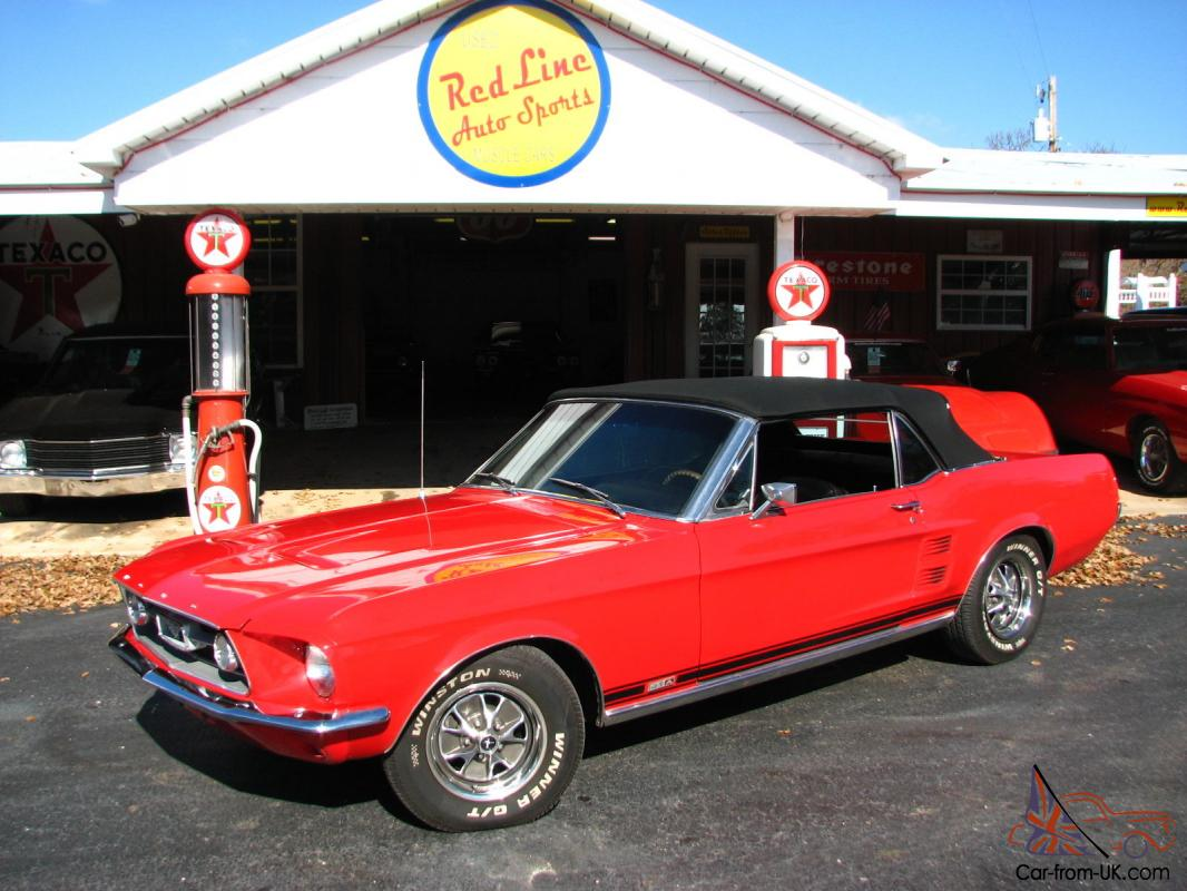 1967 ford mustang gta convertible candy apple red 289 a code gt cold ac restored photo