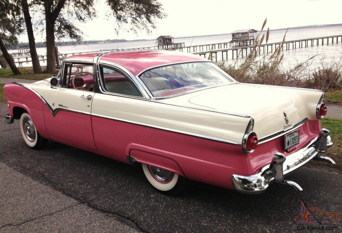 restored pink white 1955 ford crown victoria with rare 3 speed 55 56 57. Black Bedroom Furniture Sets. Home Design Ideas