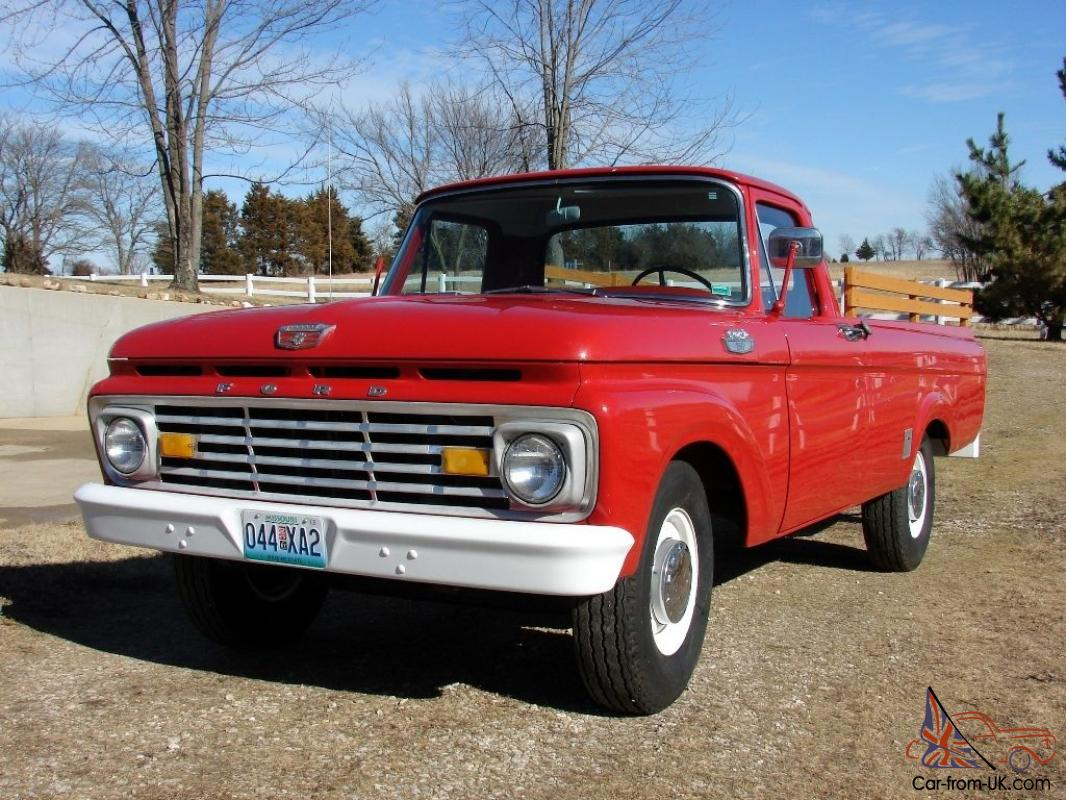 1963 ford f 250 red pickup truck with 32 607 original miles. Black Bedroom Furniture Sets. Home Design Ideas