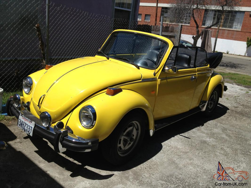 1974 Volkswagen Super Beetle Convertible In Original Saturn Yellow Photo