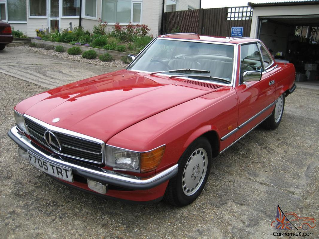 Mercedes benz r107 sl500 1989 signal red with cream leather for 1989 mercedes benz