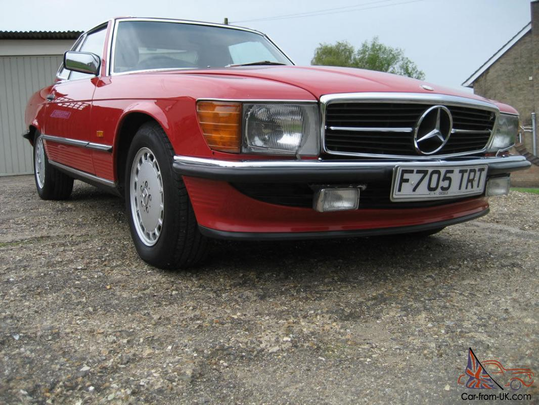 Mercedes benz r107 sl500 1989 signal red with cream leather for Mercedes benz leather