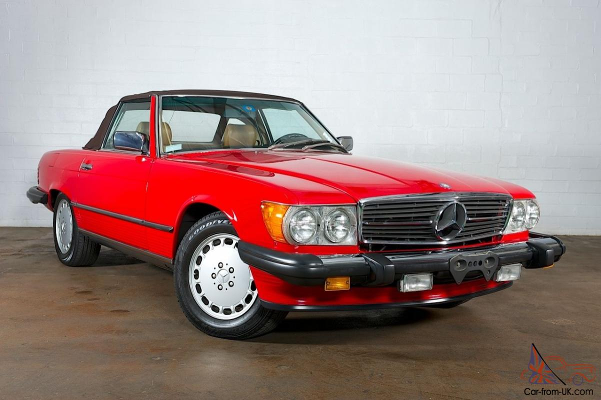 1988 mercedes benz 560sl no reserve red over tan for Mercedes benz red