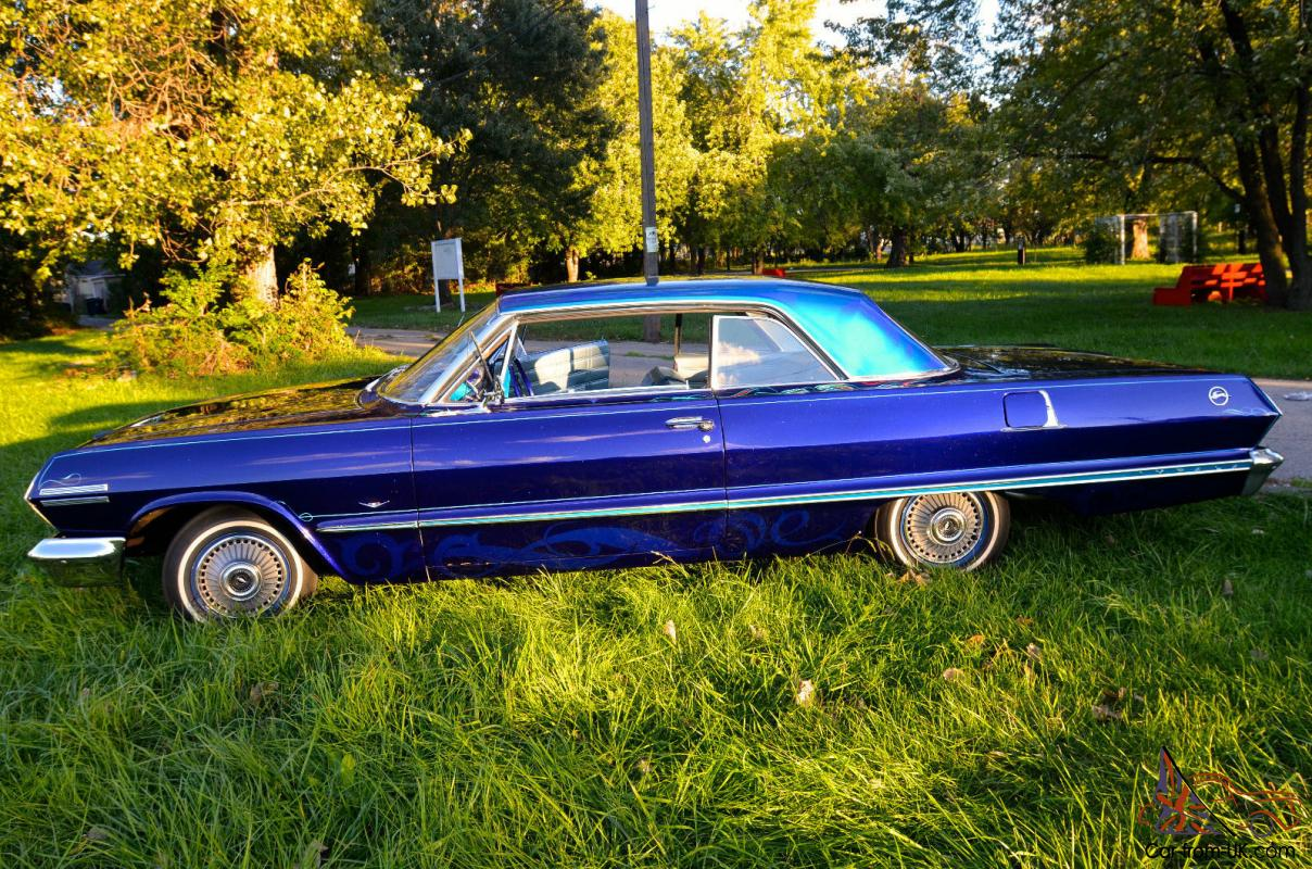 & 1963 Chevy Impala (Custom Blue 2 door 63 chevy Impala) look 12 pictures