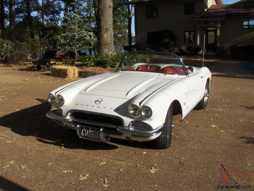 1962 Chevy Corvette White With Red Interior Professionally Restored