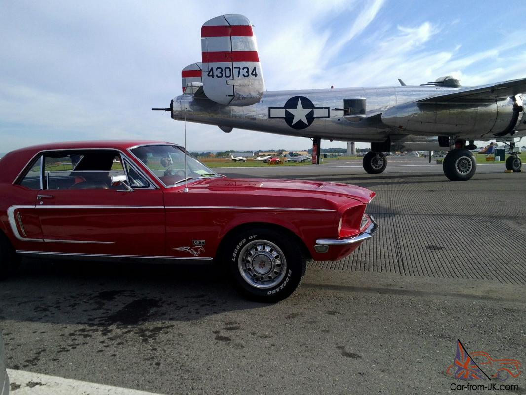 68 mustang g t coupe 390 2v candyapple red white c stripe original x code