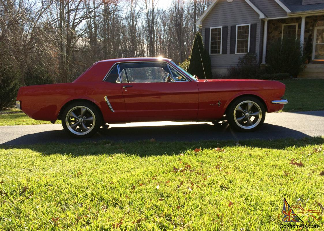 1964 1 2 1965 ford mustang coupe 5 speed 302 bright red a c much more. Black Bedroom Furniture Sets. Home Design Ideas