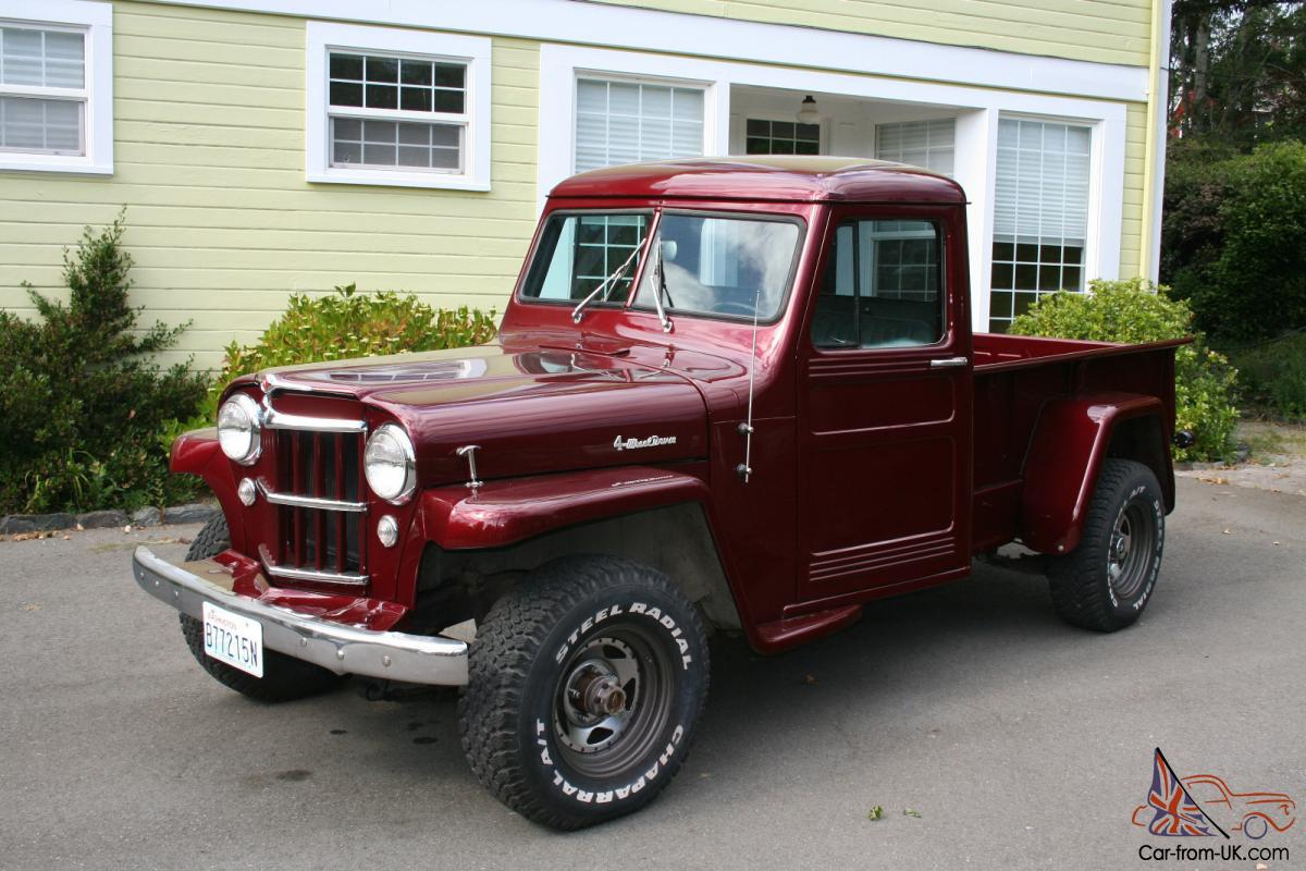 Willys Car: 1955 Willys Pickup Truck. 4WD. New Paint, Interior, Some