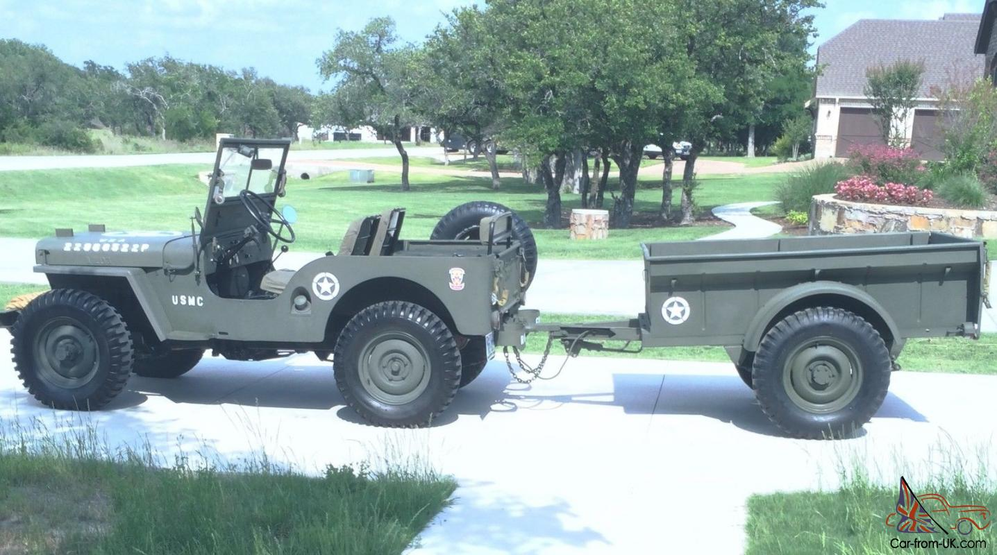 Restored Military Themed Willys Jeep And Bantam Trailer