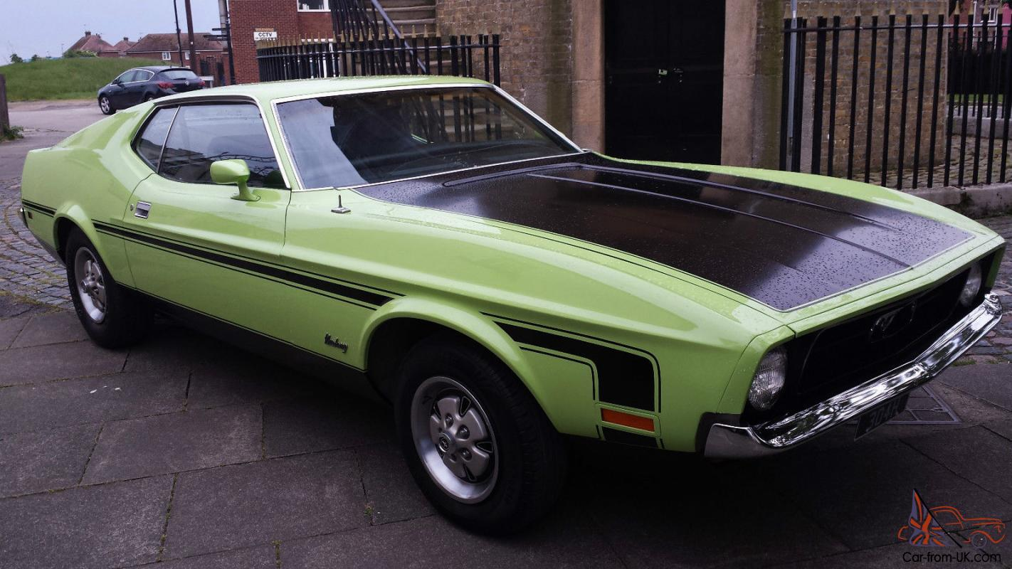 1971 h ford mustang fastback 302 5 0 ltr v8 auto lime green california car. Black Bedroom Furniture Sets. Home Design Ideas